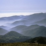 Blick von den Vogesen im Elsass zur Oberrheinebene (Herbst 1984)