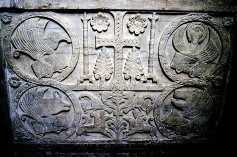 Cividale: Dom - Sigwaldplatte vom Callixtus-Taufbecken im Museo Cristiano (1999)