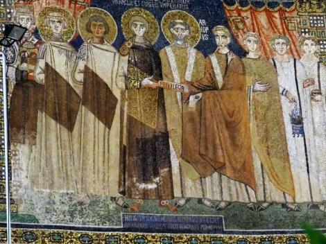 Sant' Apollinaris in Classe: Kaiser Constantin IV. überreicht Privilegien an Ebf. Reparatus (2017)