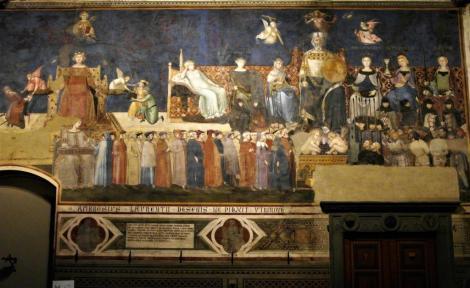 """Palazzo Pubblico: Saal des Friedens - """"Allegorie der guten Regierung"""" von Ambrogio Lorenzetti (2017)"""