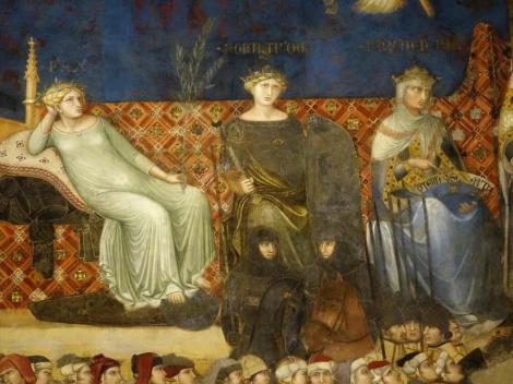 """Palazzo Pubblico: Saal des Friedens - """"Allegorie der guten Regierung"""" - Tugenden [links pax] von Ambrogio Lorenzetti (2017)"""