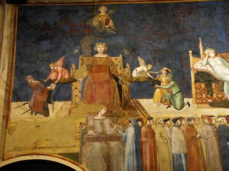 """Palazzo Pubblico: Saal des Friedens - """"Allegorie der guten Regierung"""" von Ambrogio Lorenzetti - Tugenden [oben Gerechtigkeit, unten Eintracht] (2017)"""