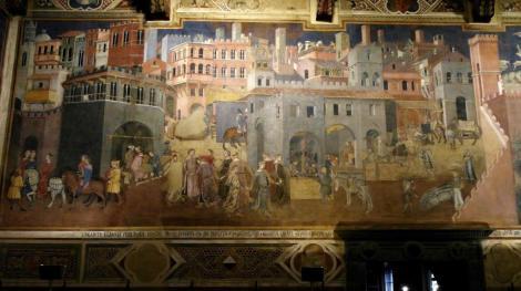 """Palazzo Pubblico: Saal des Friedens - """"Auswirkung der guten Regierung in der Stadt"""" von Ambrogio Lorenzetti (2017)"""