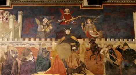 """Palazzo Pubblico: Saal des Friedens - """"Allegorie der schlechten Regierung"""" von Ambrogio Lorenzetti (2017)"""