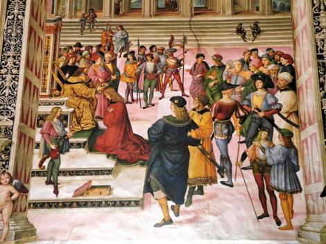 Dom: Piccolomini-Bibliothek Fresken aus dem Leben von Enea Silvio Piccolomini von Pinturicchio - hier: Dichterkrönung (2017)