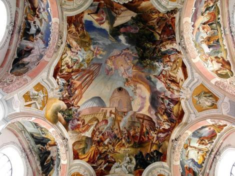 Wahlstatt [poln. Legnickie Pole]: Klosterkirche - Deckengemälde von Cosmas Damian Asam (2014)