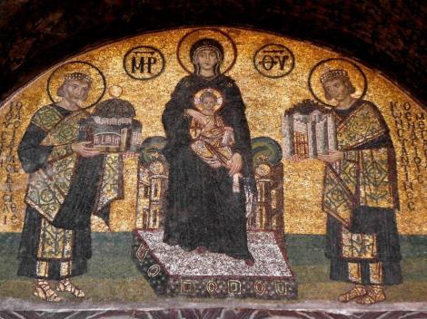 Hagia Sophia: Innerer Narthex - Stiftermosaik über der Schönen Pforte (2014)