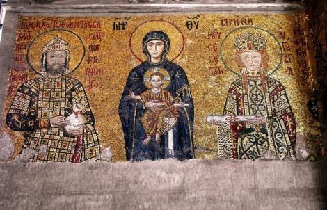 Hagia Sophia: Südgalerie - Kaisermosaik rechts mit Johannes II. Komnenos und Irene (2014)