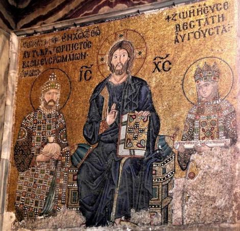 Hagia Sophia: Südgalerie - Kaisermosaik links mit Konstantin IX. Monomachos und Zoe (2014)