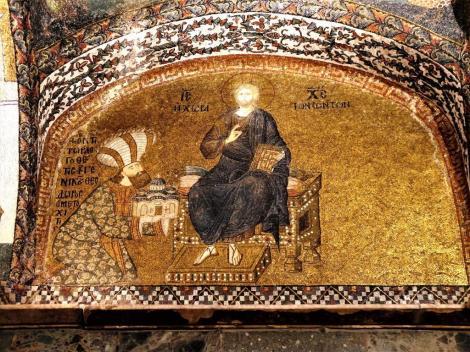 Chora-Kirche: Innerer Narthex [Esonarthex] 3. Joch - Theodoros Metochites übergibt Christus die Erlöserkirche (2014)
