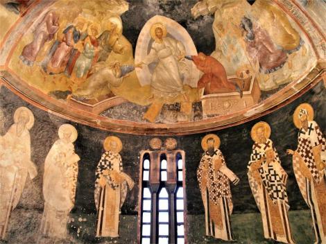 Chora-Kirche: Parekklesion [Seitenkapelle] - Apsis mit Anastasis [oben] und Kirchenvätern [unten] (2014)