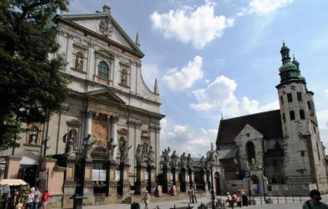 Krakau: Jesuitenkirche Peter und Paul [links] und Andreaskirche [rechts] (2014)