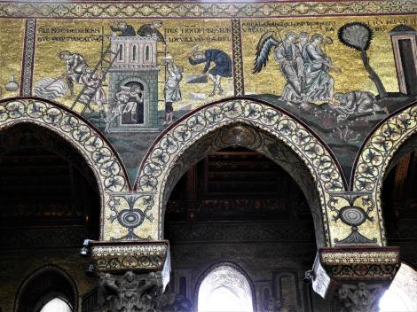 Monreale: Dom - Mittelschiff Südwand [Turmbau zu Babel, Abraham trifft die drei Engel] (2018)