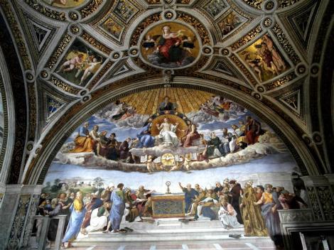 """Vatikanische Museen - Stanzen des Raffael: Saal der Signatur """"Disputation des Sakraments (2013)"""