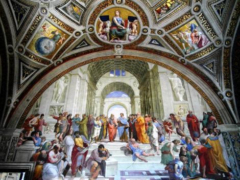 """Vatikanische Museen - Stanzen des Raffael: Saal der Signatur """"Die Schule von Athen"""" (2013)"""