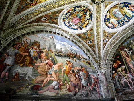 """Vatikanische Museen - Stanzen des Raffael: Saal des Brandes von Borgo """"Die Seeschlacht von Ostia"""" (2013)"""