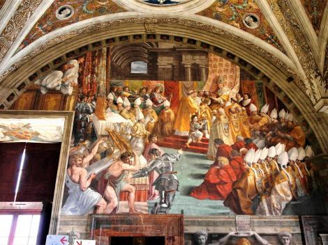 """Vatikanische Museen - Stanzen des Raffael: Saal des Brandes von Borgo """"Krönung Karls des Großen"""" (2013)"""