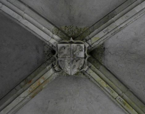 Eisenmarkt: Hunyadi-Burg - Schlussstein mit Hunyadi-Wappen im Rittersaal (2018)