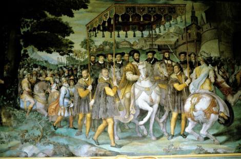 Caprarola: Palazzo Farnese - Saal der Taten der Farnese - Gemälde mit Karl V. und Franz I. sowie Kardinal Alessandro Farnese (2002)