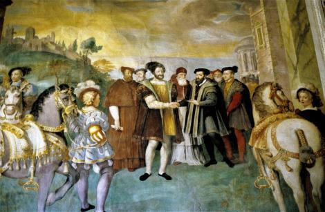 Caprarola: Palazzo Farnese - Saal der Taten der Farnese - Gemälde mit Karl V. und Franz I. (2002)