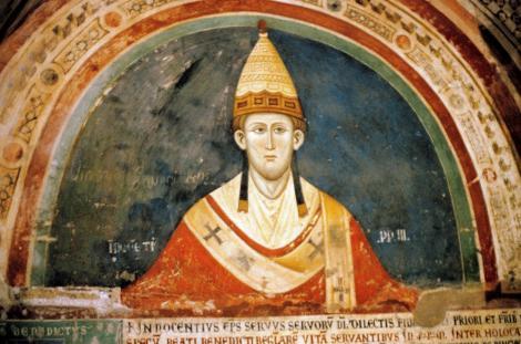 Subiaco: Sacro Speco - Papst Innozenz III. in der Unterkirche (2002)
