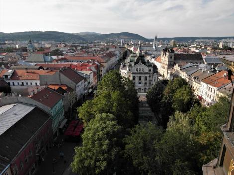 Kaschau: Blick vom Turm des Elisabeth-Domes auf die Hauptgasse [Ring] (2018)