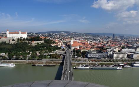 Pressburg: Blick vom Brückenturm der Donaubrücke (2018)