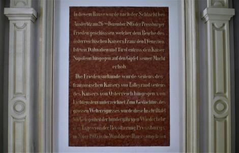Pressburg: Primatialpalais - Tafel zum Pressburger Frieden 1805 (2018)