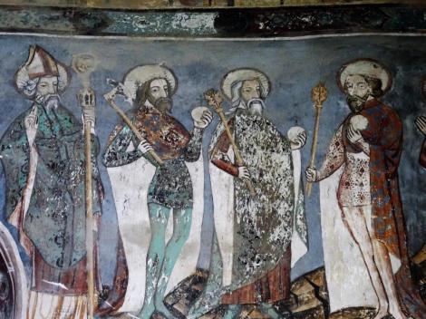 Malmkrog: Kirchenburg - südliche Chorwand der Kirche [Gerhard, Ladislaus, Stephan, Ludwig IX. von Frankreich] (2018)