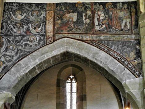 Mediasch: Kirchenburg - nördliche Arkadenwand der Kirche [Fresken: Wurzel Jesse - Passion Christi] (2018)