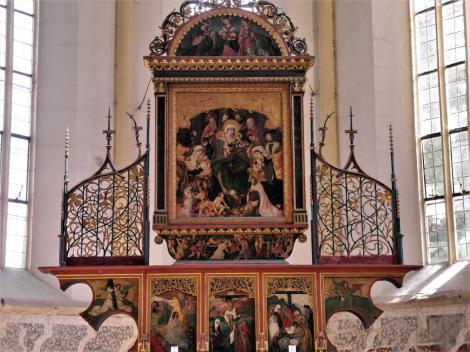 Schäßburg: Bergkirche - Altar aus Schaas im Chor (2018)