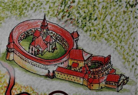 Tartlau (rum. Prejmer): Darstellung der Kirchenburg (2018)