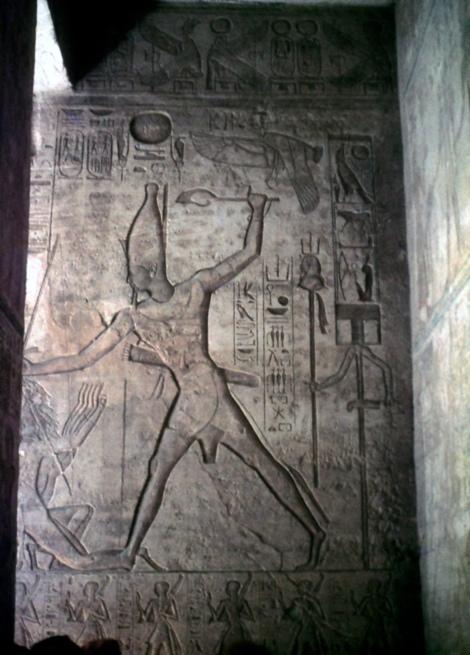Abu Simbel: Großer Tempel - Relief im 1. Säulensaal (1982)