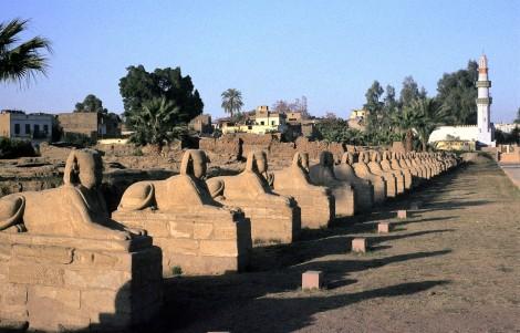 Luxor: Luxortempel - Sphinxallee vor dem Großen Pylon (1982)