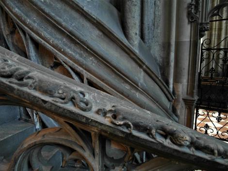 Wien: Stephansdom - Treppengeländer der Kanzel mit Eidechsen und Kröten (2019)