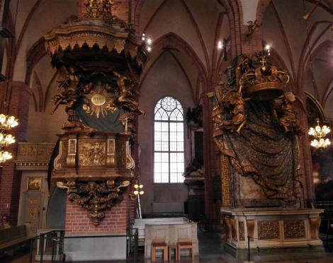 Stockholm: Nikolaikirche [Große Kirche = Storkyrkan] - Kanzel und Königsstuhl (2019)