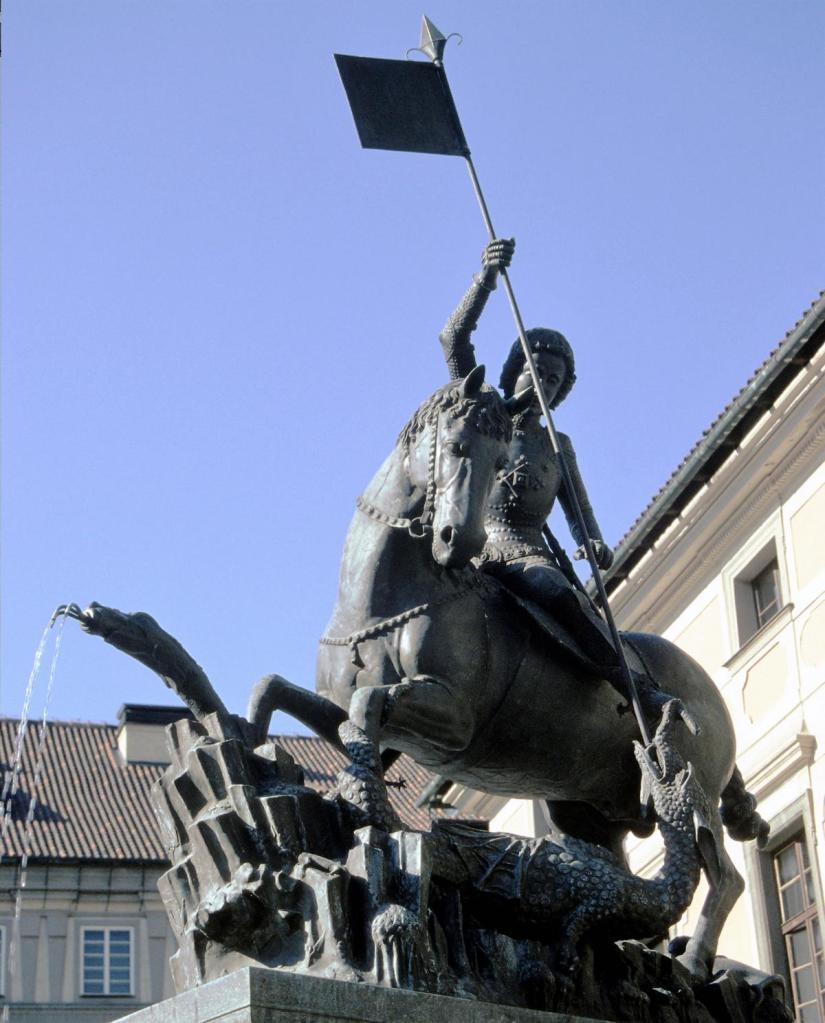 Prag: Statue des Hl. Georg [Kopie] von Martin und Georg von Klausenburg (2004)