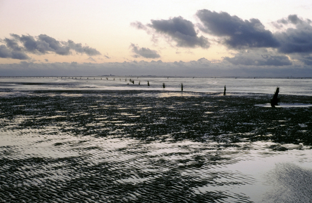 Cuxhaven-Duhnen: Blick über das Watt zur Insel Neuwerk (1987)
