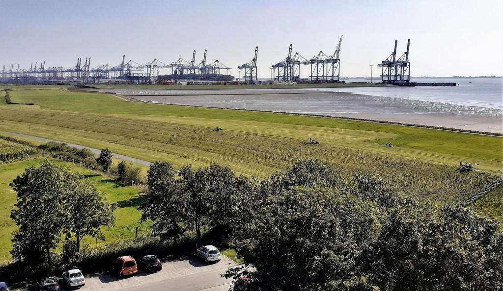 Imsum: Blick vom Ochsenturm auf den Containerhafen von Bremerhaven (2019)