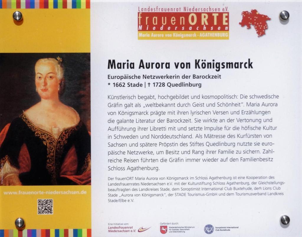Stade: Schloss Agathenburg - Schautafel zu Maria Aurora von Königsmarck (2019)